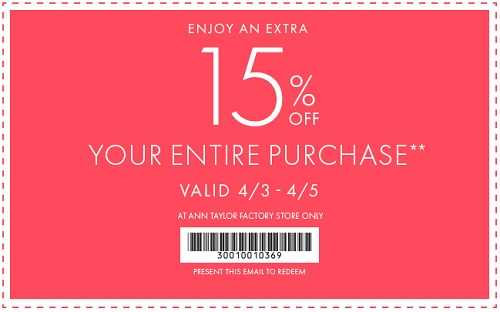 Coupon for: Ann Taylor Factory Stores, Save big with Sale coupon