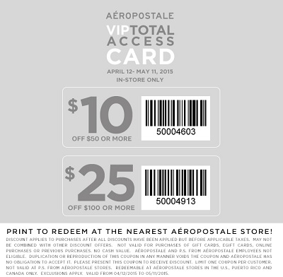Coupon for: Aéropostale, Shopping with printable sale coupon