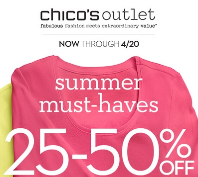 Coupon for: Chico's Outlets, 6 Days to Save on Summer