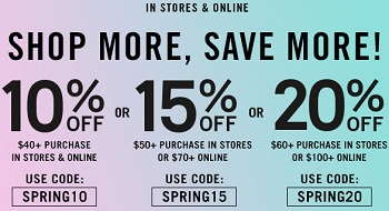 Coupon for: Forever 21, Spend more, save more