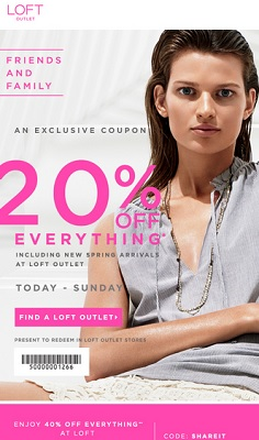 Coupon for: LOFT Outlet Stores, Friends & Family Event