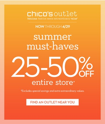 Coupon for: Chico's Outlets, Summer must-haves