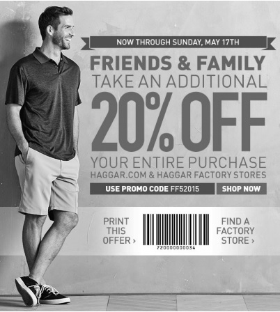 Coupon for: Haggar, Friends & Family Sale Event