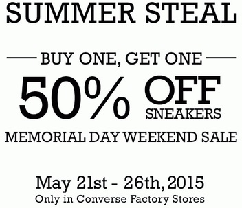Coupon for: Converse Factory Stores, Memorial Weekend Sale 2015
