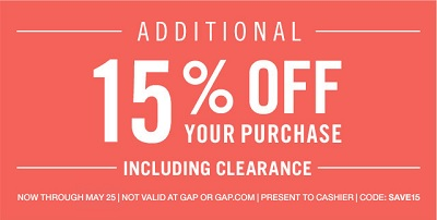 Coupon for: Gap Factory Stores, Memorial Day Sale 2015
