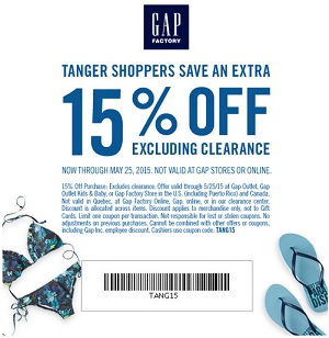 Coupon for: Gap Factory, Tanger Outlets, Extra Discount