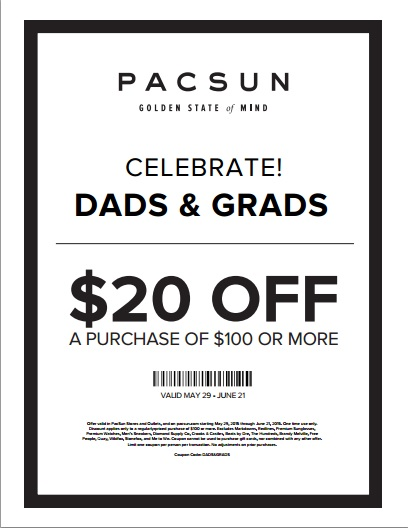 Coupon for: PacSun, Gifts for Grads and Dads