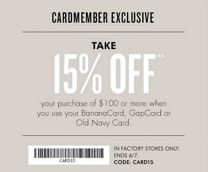 Coupon for: Banana Republic Factory Stores, Exclusive offer for cardmembers