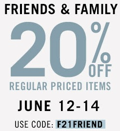 Coupon for: Forever 21, Friends & Family Sale
