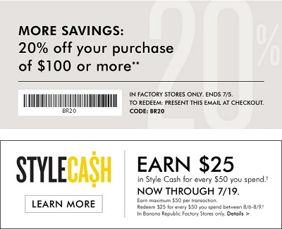 Coupon for: Banana Republic Factory Stores, It's time for new closets