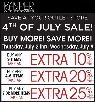 Coupon for: 4th of July Sale starts today at Kasper Outlet Stores