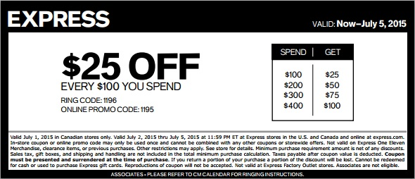 Coupon for: 4th of July Sale from Express