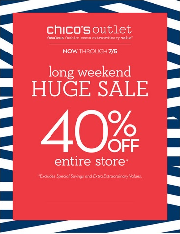 Coupon for: Chico's Outlets, Long weekend huge sale ...