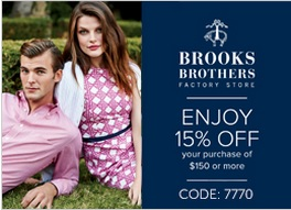Coupon for: Brooks Brothers Factory Stores, Tanger Outlets