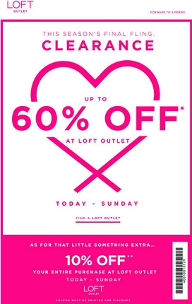 Coupon for: LOFT Outlet Stores, Big announcement: Up to 60% ogg