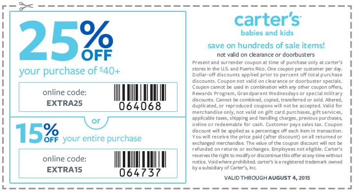 Coupon for: carter's, Up to 25% off
