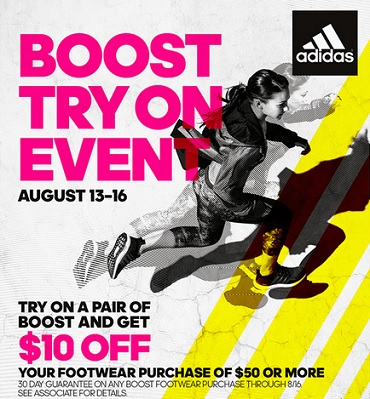 Coupon for: adidas Outlet Stores, Boost try on event ...