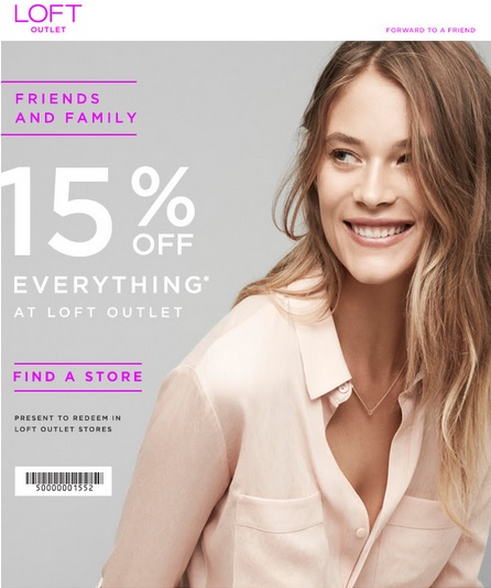 Coupon for: Save during Friends & Family event from LOFT Outlets ...