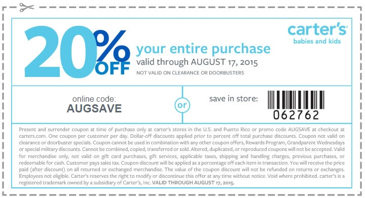 Coupon for: Enjoy 20% off purchase at carter's ...