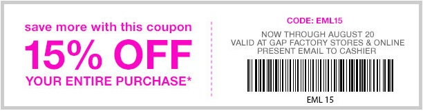 Coupon for: Gap Factory Stores, Sale coupon