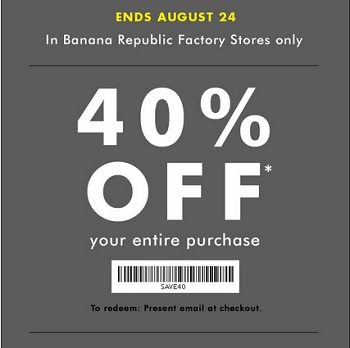 Coupon for: Banana Republic Factory Store, Friends & Family Event ...