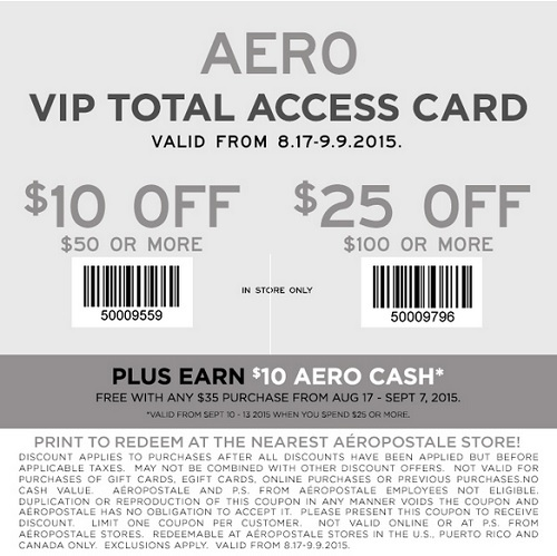 Coupon for: Savings with printable coupon at Aéropostale
