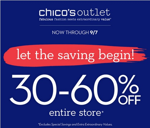 Coupon for: Labor Day Savings at Chico's Outlets