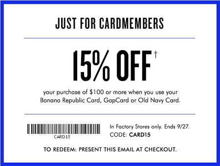 Coupon for: Banana Republic Factory Store, Special offer for Cardmembers ...