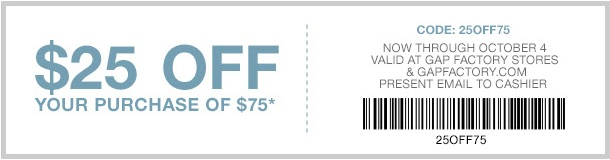 Coupon for: Printable coupon from Gap Factory ...