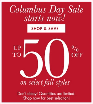 Coupon for: Coldwater Creek, Columbus Day SALE 2015