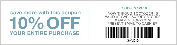 Coupon for: Save more at Gap Factory ...
