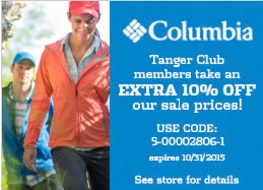 Coupon for: Savings at Columbia Sportswear at Tanger Outlets ...