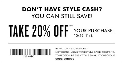 Coupon for: Redeem Style Cash at Banana Republic Factory Stores ...