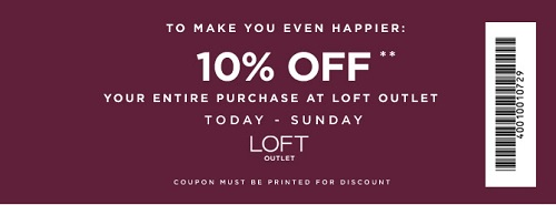 Coupon for: Enjoy extra savings at LOFT Outlet Stores ...
