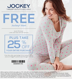 Coupon for: Exclusive sale at Jockey Outlet Stores at Tanger Outlets ...