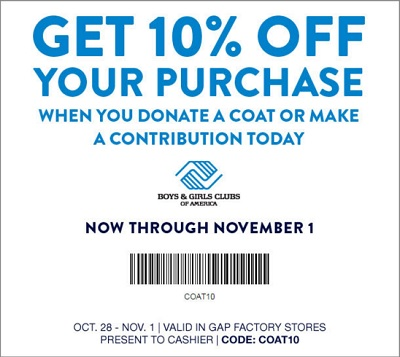 Coupon for: Save money at Gap Factory Stores ...