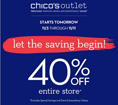 Coupon for: Let the saving begin at Chico's Outlets ...