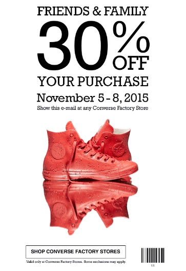 Coupon for: Friends & Family Sale at Converse Factory Stores ...