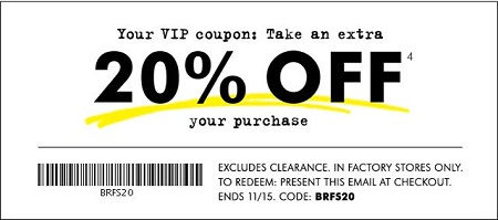 Coupon for: VIP coupon from Banana Republic Factory ...