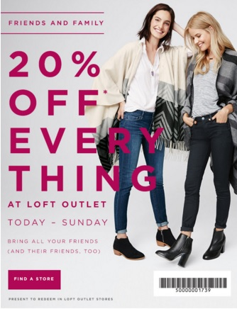Coupon for: LOFT Outlet Stores, Friends & Family Sale ...