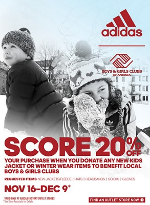 Coupon for: adidas Outlet Stores, Donate and receive discount ...