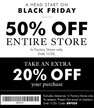 Coupon for: Black Friday starts early at Banana Republic Factory Stores ...
