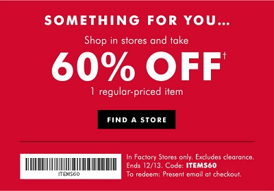 Coupon for: All outerwear on sale at  Banana Republic Factory Stores ...
