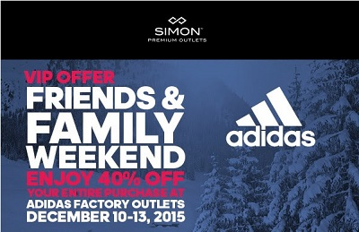 Coupon for: Friends & Family Weekend Sale at adidas outlets at Premium Outlets