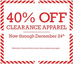 Coupon for: Converse Factory, Clearance apparel ...