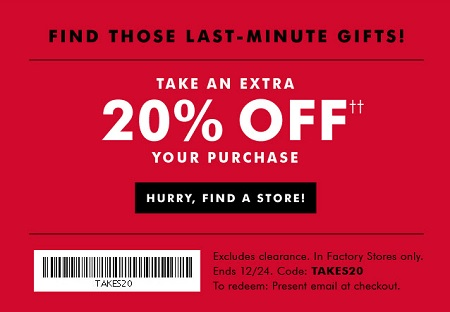 Coupon for: Last-minute gifting at Banana Republic Factory Stores ...