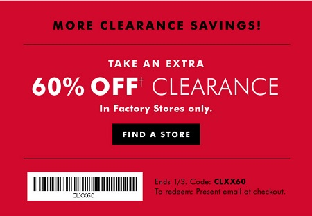 Coupon for: More clearance savings from Banana Republic Factory ...