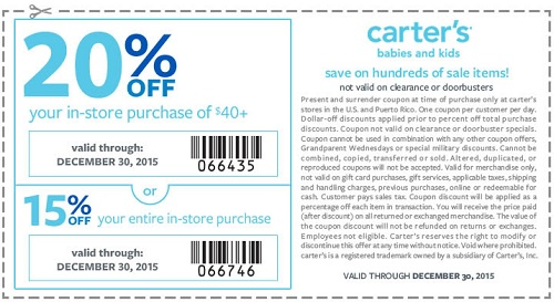 Coupon for: It's over, now it's time to kick back at carter's ...
