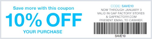 Coupon for: Save more with coupon at Gap Factory ...