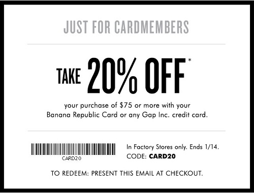 Coupon for: Cardmembers save more at Banana Republic Factory Stores